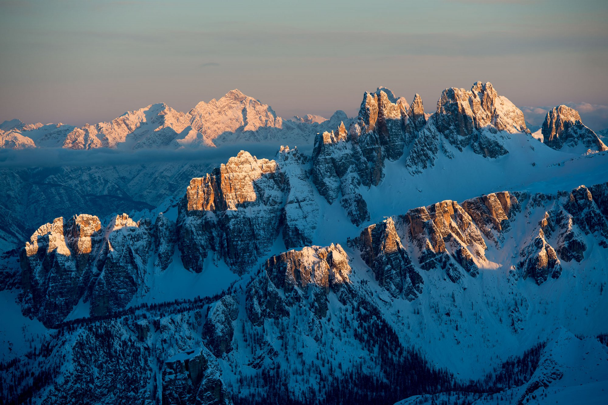 Cortina d'Ampezzo in Italy. Sunset from Rifugio Lagazuoi for Cortina Tourism.