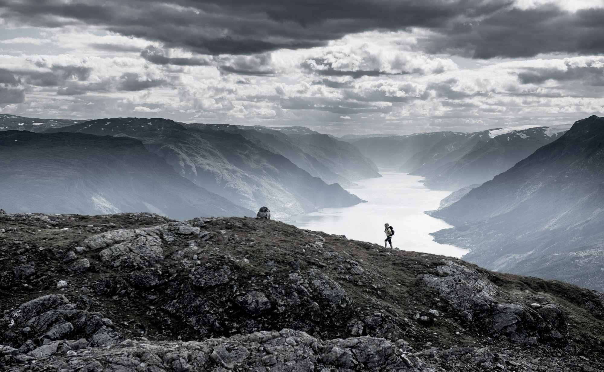 Hiking alongside the Hardangerfjord. Private project.